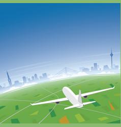 dusseldorf skyline flight destination vector image vector image
