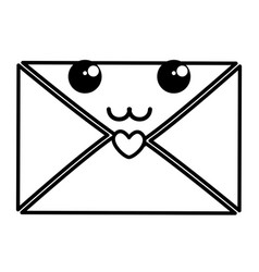 Envelope with heart kawaii character vector