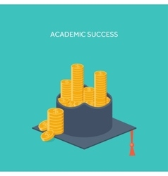 Flat background with academic vector image