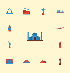 Flat icons seattle america india mosque and vector