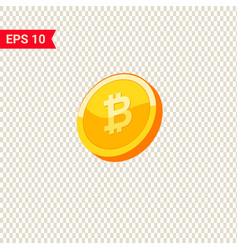 golden 3d coins with bitcoin sign vector image
