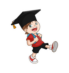 happy boy student graduate vector image