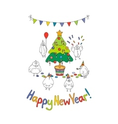 Happy New Year greeting card with cartoon funny vector image vector image