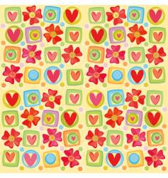 hearts and flowers background vector image vector image