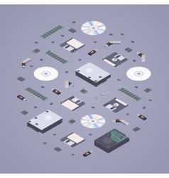 Isometric flat digital memory storages vector image