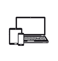 laptop tablet and smartphone icons vector image