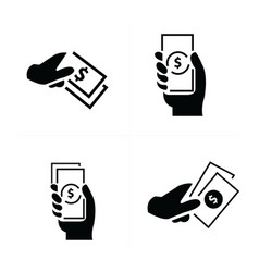 money in the hand icons 4 styles vector image