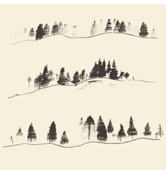 Mountains with fir forest contours engraving vector