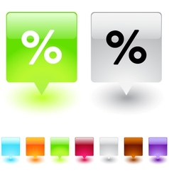 percent square button vector image vector image