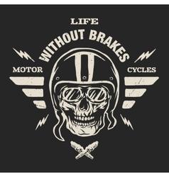 Racer skull in helmet vintage style vector