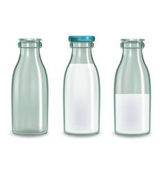 realistic transparent glass milk bottle set vector image vector image