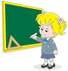 Schoolgirl writes on the blackboard vector image