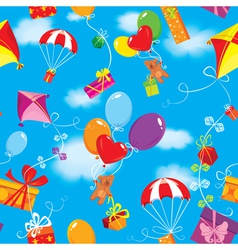 Seamless pattern with colorful gift boxes present vector image