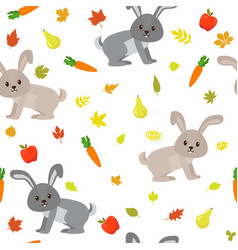 seamless pattern with cute rabbits carrots vector image