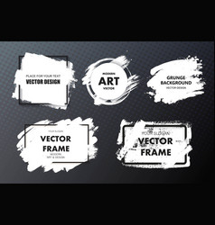 set of paint ink brush strokes backgrounds vector image