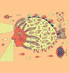 surreal submarine - doodle psychedelic fantasy art vector image vector image