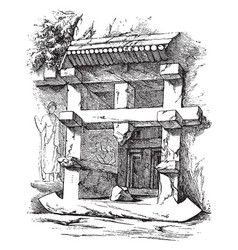 Tomb at myra vintage vector