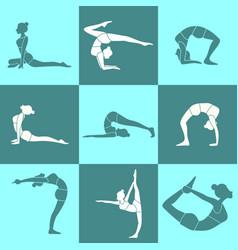 Various silhouette pose yoga posture set vector