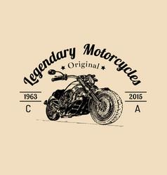 vintage legendary motorcycles logo biker vector image vector image