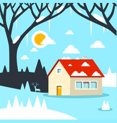 Winter flat design landscape with house on field vector