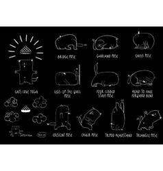 Yoga Cat set vector image