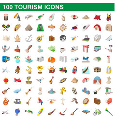 100 tourism set cartoon style vector