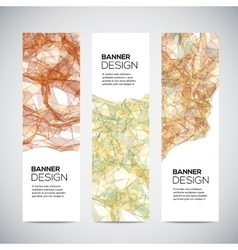 Banners with abstract colorful triangulated lined vector