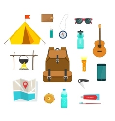 Backpacking hiking things collection traveler vector
