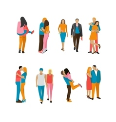 Set of couples in love people characters vector