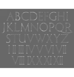 Modern roman classic alphabet with numbers vector