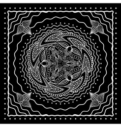 Black and white oriental bandana design vector image