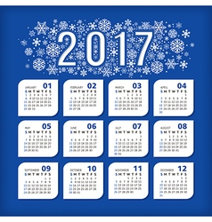 2017 blue calendar with stylized snowflakes vector