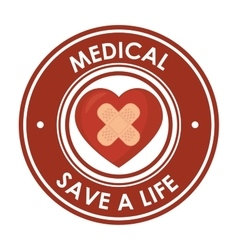 Medical save a life heart plaster design badge vector