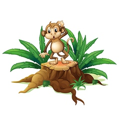 A monkey standing on the stump with leaves vector