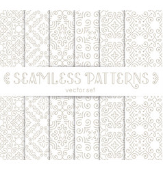 Set of seamless vintage wallpapers with flourishes vector