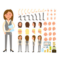 Businesswoman person character creation set vector