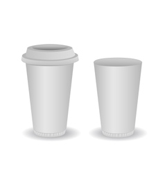 Two blank paper coffee cup vector