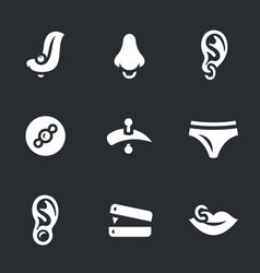 Set of piercing icons vector