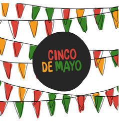 cinco de mayo postcard holiday pennant bunting vector image