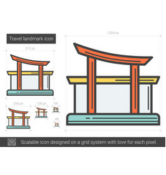 Travel landmark line icon vector