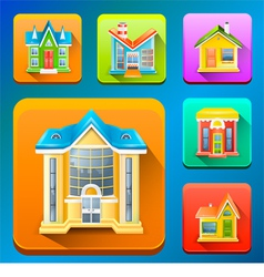 Colorful Building icons vector image