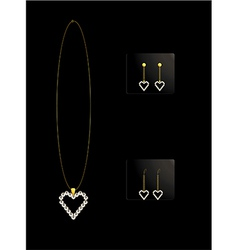 Elegant heart necklace set 2 vector