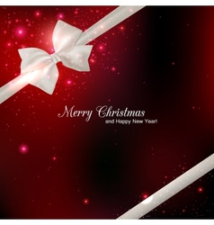 Shining red christmas background with silk white vector