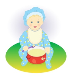 The child eats porridge vector