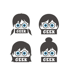 Young geek girl cartoon vector
