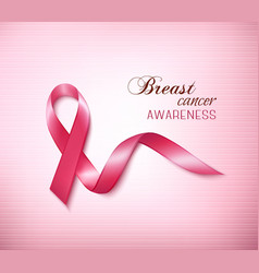 Background with pink breast cancer ribbon vector