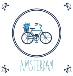 Dutch blue tile with bicycle vector