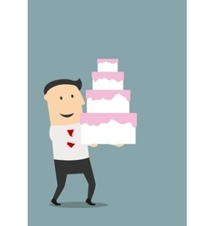 Businessman carrying a birthday cake vector