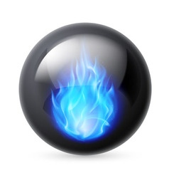Sphere with fire flames vector