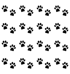 Background with black paw prints vector